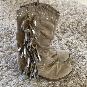Girls' JUSTICE Beige Suede Western Boots Sz 13
